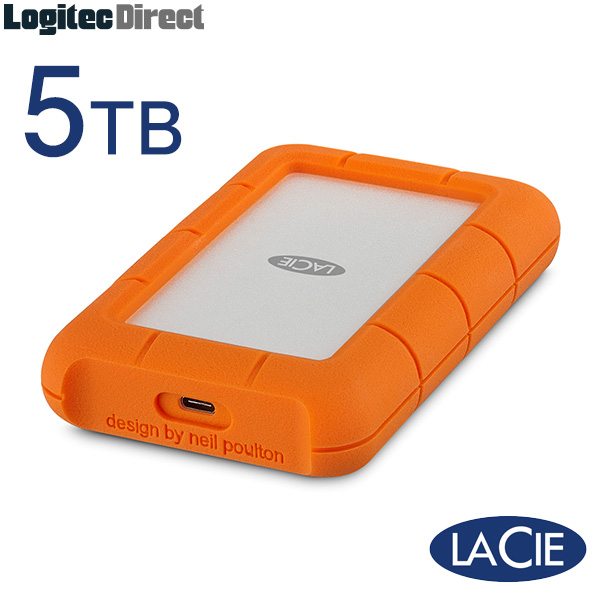 ラシー LaCie Rugged USB-C 5TB HDD USB3.1 Type-C ポータブルハードディスク  Apple Macシリーズ 【STFR5000800】